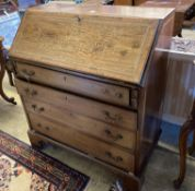 An Edwardian marquetry inlaid mahogany bureau, width 92cmCONDITION: Overall carcass rather faded,