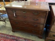 A George III mahogany four-drawer chest of small proportions, width 90cmCONDITION: Repolished at