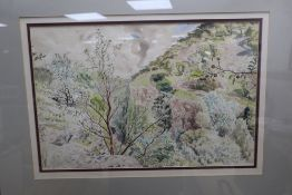 Guy Mallett (1900-1973), View of Cheddar Gorge, signed and dated 8/48, watercolour, 31 x