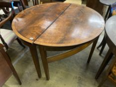 A pair of George III satinwood banded mahogany demi lune dining table ends, width 123cm height