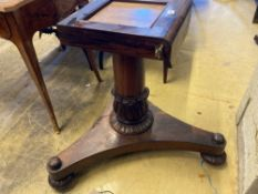 A Regency rosewood breakfast table base, lacking topCONDITION: Patching and losses to the veneer