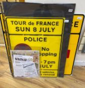 Tour de France Interest (UK), Sunday 8 July 2007, including road signs and printed ephemera