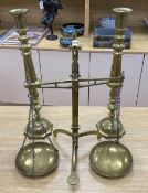 A pair of brass altar candlesticks, 60cm and a pair of Beam scales to weight 2lb, height 56cm