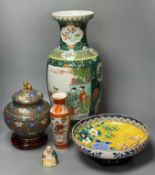 A Chinese cloisonne enamel jar and cover, 22cm a large Chinese famille verte vase, 47cm and three