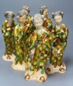 A set of six Chinese Tang style sancai pottery figures of female musicians, 32cmCONDITION: Good