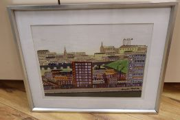 Grandpa Roberts, oil on board, Cityscape, signed and dated '84, 29 x 39cmCONDITION: A few dirt