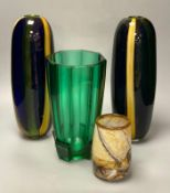A pair of tall Art glass vases, 33cm, an angular green glass vase, 25cm and a Glory Art glass