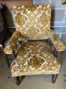 A late Victorian Carolean revival walnut elbow chairCONDITION: Some fading and wear to the