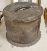 A circular lead lidded container, possibly a wine cooler, 33cm