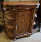 A small Victorian walnut credenza, width 96cm depth 38cm height 95cmCONDITION: Top has been