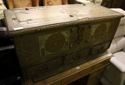 A 19th century teak and brass Zanzibar chest, width 110cm depth 47cm height 46cm
