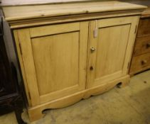 A Victorian pine two door cupboard, width 114cm depth 44cm height 89cm