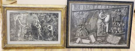 After Piranesi, engraving, 'Trofei De Daci', Angel with trophies, overall 59 x 84cm, and a Victorian