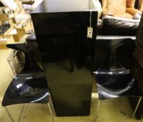 A Jasper Conran ebonised pedestal, height 120cm, and pair of contemporary black perspex chairs