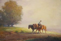 Eugène Péchaubès (1890-1967), oil on board, Farmer and horses returning from the fields, signed,