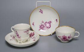 A Vienna puce en camaieu cup and trembleuse saucer, diameter 13.5cm (repair) and a similar