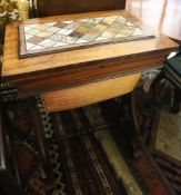 A Victorian mahogany work table with specimen marble top, width 45cm, depth 74cm