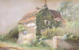 S.M. Scott, watercolour, Study of a timber beamed cottage, signed and dated (18)63, 12 x 19cm