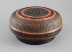 A Southern Chinese lacquer and basket weave box, 18th/19th century, with carved tortoiseshell