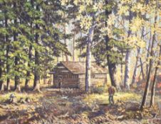 Fred Hall (1860-1948), oil on canvas board, Hunt Camp, Canoeshed Lake, Gogama, Canada, signed, 39