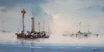 Jorge Aquilar-Agon (1936-), oil on canvas, 'Calm Mooring', signed, Frost and Reed label verso, 39