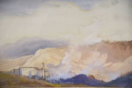 Cecil Arthur Hunt (1873-1965), watercolour and bodycolour, Mountain landscape with factory town,