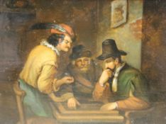 19th century German School, oil on zinc, 17th century tavern interior, 15 x 20cmCONDITION: A