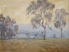 J. Colin Angus (Australian, 1907-2002), oil on canvas, Dust in the Mitta Valley, signed, 24 x 29cm