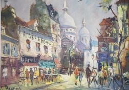 Marchand, oil on canvas, Place du Tertre Montmatre, signed, 21 x 26cm