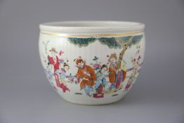 A Chinese famille rose 'immortals' jardiniere, 19th century, 22cm diameterCONDITION: Two small