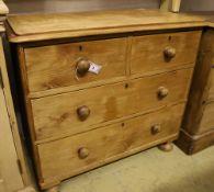 A Victorian pine chest, width 89cm depth 42cm height 81cm
