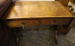 A Regency style banded mahogany sofa table, width 95cm depth 57cm height 72cm