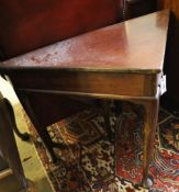 A George III triangular mahogany pad foot drop leaf table, width 90cm, depth 46cm, height 70cm