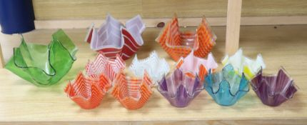 A collection of twelve 1960s/70s glass handkerchief vases, 10.5 - 17.5cm highCONDITION: Provenance -