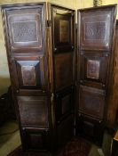 A Continental leather mounted three fold dressing screen, each panel 45 x 192cm