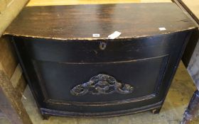 A late 18th century painted pine coffer, width 97cm depth 40cm height 78cm