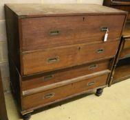 A 19th century teak two part campaign chest, width 106cm, depth 49cm, height 106cm