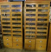 A pair of mid 20th century haberdashery cabinets, width 90cm depth 46cm height 199cm