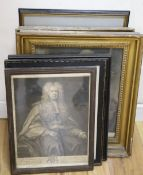 Six assorted antique engravings, Portraits of William Pitt, Oliver Cromwell, Robert Lloyd Raymond,