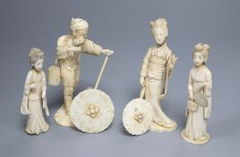 Four early 20th century Japanese sectional ivory figures, tallest 14cmCONDITION: Man with stick -