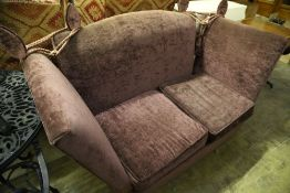 A Knole settee upholstered in mauve fabric, 170 x 80cm, height 92cm