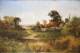 T Whithew (c.1900), oil on canvas, Timber framed house beside a river, signed a and dated 1906, 50 x