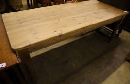 A Victorian style pine kitchen table, width 196cm depth 86cm height 77cm