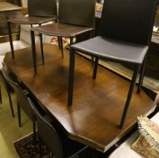 A military style mahogany and brass bound twin pillar dining table, width 182cm extended (one