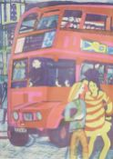 Rupert Shephard (1909-1992), linocut, 'The Bus', signed, numbered 56/60, 51 x 41cmCONDITION: