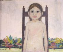 Alistair Grant (1925-1997), oil on board, Child on a chair, signed and dated '53, 40 x 50cm