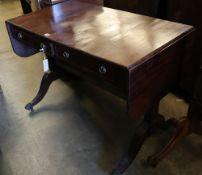 A Regency style mahogany sofa table, width 100cmCONDITION: Good dark mahogany tone but top has