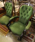 A pair of Victorian mahogany spoonback chairs, one with arms