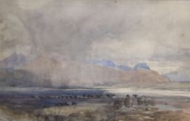 Attributed to David Cox Snr (1783-1859), watercolour, Rain swept landscape, 13.5 x 21cmCONDITION:
