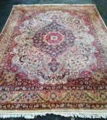 A large Tangiers Berber pink ground carpet, 310 x 240cm